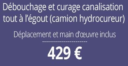 tarif débouchage, curage canalisation, Paris 13